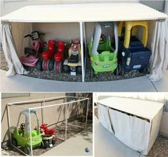 Easy DIY kids Garage.   Also good fir hiding other things away out of view!