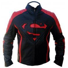 Customized Men's Handmade Super Man Logo Black And Red Leather Biker Jacket Men's Leather Jacket, Biker Leather, Leather Men, Leather Jackets, Red Leather, New Superman Movie, Black Superman, Superman Logo, Looks Cool