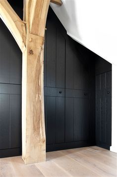 Simple black cabinetry with wood timbre frame