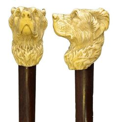 antique walking stick, with a carved ivory head of…