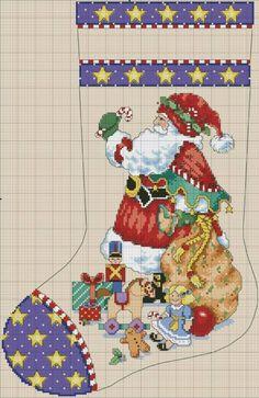 Santa Cross Stitch, Cross Stitch Christmas Stockings, Cross Stitch Stocking, Christmas Stocking Pattern, Christmas Stocking Holders, Xmas Stockings, Christmas Cross, Counted Cross Stitch Patterns, Cross Stitch Designs