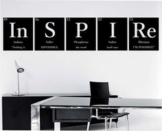 """INSPIRE """"WITH QUOTE"""""""" PeriodicTable Elements Wall Decal Sticker Art Decor Bedroom Design Mural Science Geek nerd educational """"I'm Possible"""""""