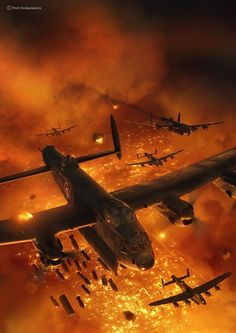 Lancaster fire bombing over Germany