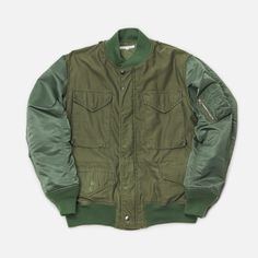 Rebuild by Needles is a special range of clothing created by reconstructing surplus and recycled vintage garments. In this case an MA-1 has been paired with an M-65, combining the cropped look of the flight jacket with the iconic pocket orientation of the field jacket for a unique outcome.