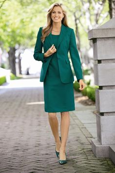 Shop Chadwicks of Boston for our All Seasons Crepe Blazer. Browse our online catalog for more classic clothing, shoes & accessories to finish your look. Business Professional Outfits, Business Casual Outfits, Business Dresses, Office Outfits, Business Fashion, Dress Suits, Skirt Suit, Women's Suits, Lawyer Fashion