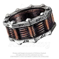 nice Hi-voltage Toric Power Generator Steampunk Pewter Ring By Alchemy Gothic Size 8.5