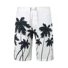 Straight Leg Drawstring Coconut Palm Print Men s Board Shorts (27 BAM) ❤ liked on Polyvore featuring men's fashion, men's clothing, men's swimwear, mens boardshorts, mens swimwear, men's apparel, mens clothing and mens board shorts swimwear