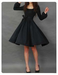 Black Long Sleeve Women's Day Dress With Belt on Luulla