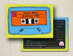 80s Cassette Tape //  Birthday Invitation via Etsy
