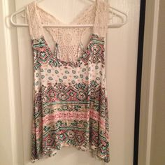 Summer shirt Super comfy and cute shirt. Size Med. excellent condition only wore once. Sorry no trades Happy Poshing  Tops Tank Tops