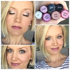Foundation: Medium tinted Moisturizer Dewy foundation Neutral powder to set Bronzer   BlushSense: Pouty pink  Mixed with pearlizer foundation Silver Rose powder  ShadowSense: Snow mixed with Pink Opal Shimmer Ebony Essence  Onyx for liner   LipSense:  2 layers Peace Pink (army pink) 1 layer First love Topped with Orchid gloss