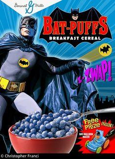 Artist Christopher Franci - wish these were real! Retro Advertising, Retro Ads, Vintage Advertisements, Batman 1966, Im Batman, Adam West Batman, Types Of Cereal, Cereal Killer, Robin
