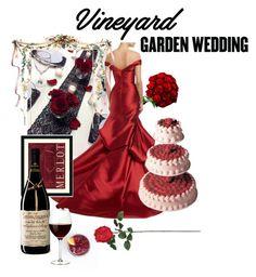 """Vineyard wedding"" by shormi ❤ liked on Polyvore featuring Monique Lhuillier, Wilton, Nearly Natural, napa, winerywedding, bestdressedguest and vineyardwedding"