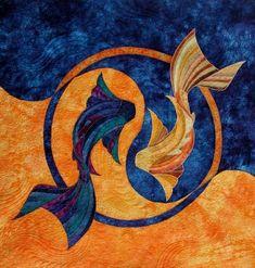 Orange & Blue Fish Yen Yang, Arte Grunge, Quilt Modernen, Fish Quilt, Japanese Quilts, Hawaiian Quilts, Animal Quilts, Arte Pop, Fish Art