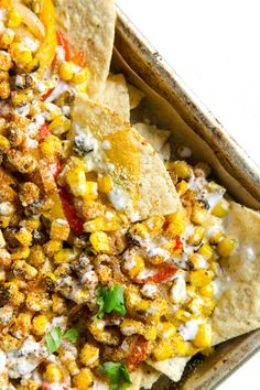 Vegan Sheet-Pan Fajita Elote Nachos - The Plant Philosophy