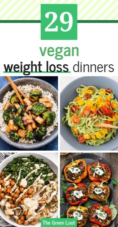 These vegan weight loss dinner recipes will slim you down! They are perfect as a part of a fat loss diet, for lunch or dinner as they are delicious and filling. | The Green Loot #vegan #veganrecipes #weightloss