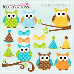 Boy Polka Dot Owls - Clipart for invitations, digital scrapbooking, crafts and more.