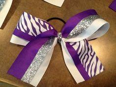 Purple White Zebra Cheer Bow Softball Bow Girls by BlinginBowMama