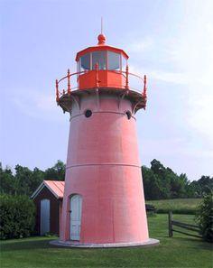 The very pink Isle La Motte lighthouse, VT