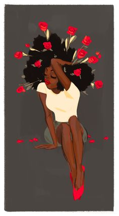 Afro textured hair with roses in hair, natural hair art, beauty