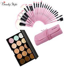 15 Colors Contour Face Cream Makeup Cosmetic Concealer Palette Make Up Kits + 24pcs Professional Maquiagem Makeup Brushes Sets