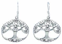 Tree of Life Earrings Art Heart Inside 925 Sterling Silver French Wire [ISE0025] #BKGjewelry #DropDangle