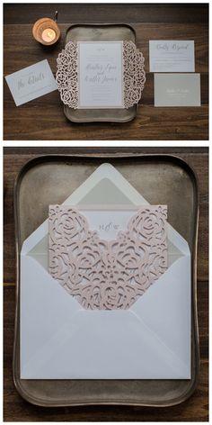 Flower Laser Cut Wedding Invitation By Penn & Paperie. Blush Roses Invitation. Unique Folder Invitation.