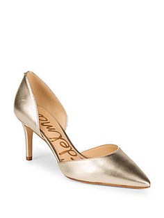 Tesla Leather D'Orsay Pumps, Light Gold