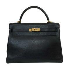 4be6cd80da553 Hermès Kelly 32 Black Ardennes Leather Bag GHW