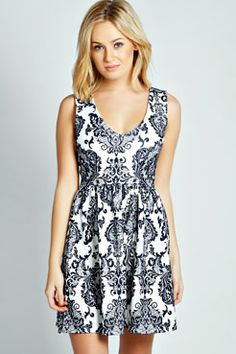 Felicity Flocked Plunge Skater Dress at boohoo.com