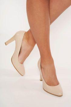 Pantofi nude elegant din piele naturala cu toc inalt cu varful usor ascutit Cape, Kitten Heels, Pumps, Shopping, Shoes, Fashion, Green, Mantle, Moda