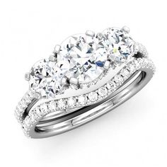 Perfect Three Stone Engagement Ring - http://www.mybridalring.com/Rings/three-stone-round-diamond-bridal-set/ - Timeless beauty of a classic round cut ring. Represent your love and dedication.  Features - Elegant diamonds mounted in 14k white gold. Total diamond weight is approx 1.91ct. channel set small diamonds gives the princess effect of ring.