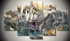 Fantasy Dragon 5pcs Large Canvas Print Art Painting Picture Home Decor Wall