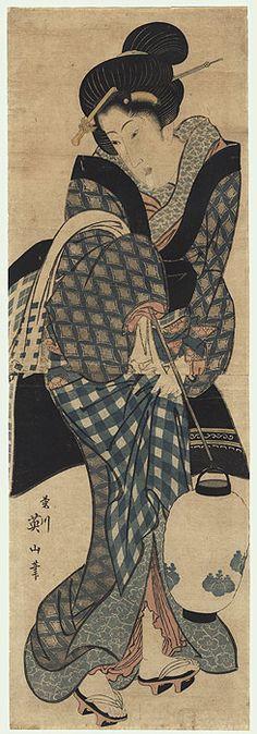 Geisha Holding a Lantern Kakemono, circa 1820 -1835 by Eizan (1787 - 1867)