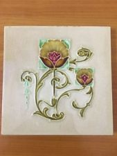 ENGLAND - ANTIQUE ART NOUVEAU MAJOLICA TILE C-1900