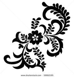 flower silhouette | vector floral silhouette on white background - stock vector