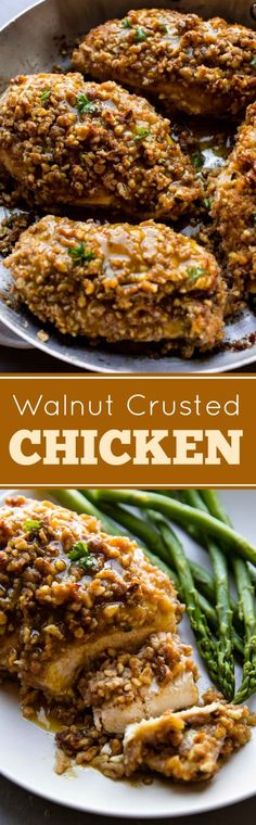 My FAVORITE chicken dinner is this unbelievably delicious and simple walnut crusted chicken! Recipe on sallysbakingaddiction.com