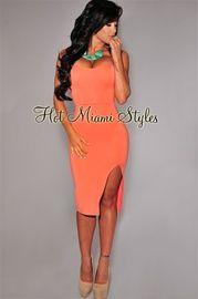 Coral Slit Strapless Padded Midi Dress