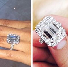 Evelyn Lozado's amazing emerald cut diamond engagement ring