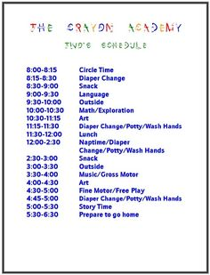 Daily schedule with a toddler and infant This is fairly close to ...