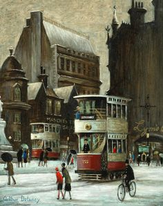 Arthur Delaney (British, 1927-1987) Albert Square, Manchester, with Lyons Corner House