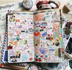 Midori Traveler's Notebook pages - gorgeous inspiration for keeping a travel journal. Ideas and techniques for keeping a sketchbook, art journal, or scrapbook while on the road Wreck This Journal, My Journal, Art Journal Pages, Journal Ideas, Art Journals, Filofax, Creative Journal, Scrapbook Journal, Journal Entries