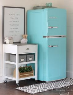 cute little kitchen in an office - that retro refrigerator is gorgeous!!
