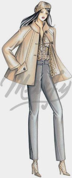 Albüm Arşivi Marfy Patterns, Coat Patterns, Clothing Patterns, Sewing Patterns, Power Dressing, Woman Sketch, Illustration Mode, Stylish Jackets, Jacket Pattern