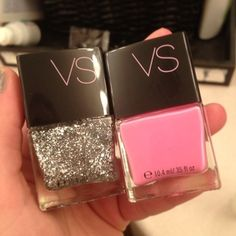 .Victoria's Secret candy pink and silver glitter nail polishes