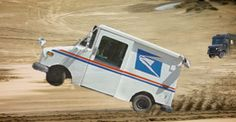 Our money's on the USPS truck to win this desert romp. #USPS #UPS