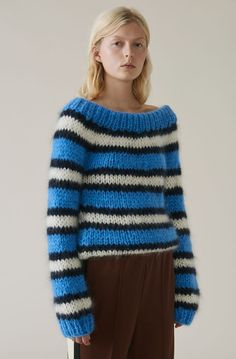 The Julliard Mohair Off Shoulder Pullover, Block Colour