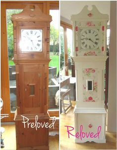 Pine Grandfather Clock Commission Painted With Original Chalk Paint And Decoupaged