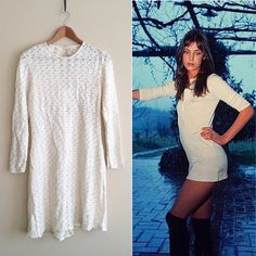 70s / Vintage Ivory Crochet Mini Off-white ivory crochet dress, long sleeves, hits mid thigh. It's in gorgeous condition but does show its age. The back button needs to be replaced and a few loose threads to fix.   BRAND: Ayres Unlimited MATERIAL: - YEAR/ERA: early 70s LABEL SIZE: - BEST FIT: S/M  MEASUREMENTS: Chest 17 in Length 35-37 in, slightly longer in back  → Style inspiration: Jane Birkin, 1969 ☒ I do not model or trade, sorry! ❁ Check out my closet for more vintage!   0531 Vintage…