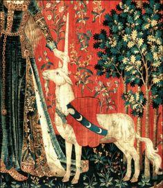 La Dama e l'Unicorno, (particolare), arazzo (lana e seta) 1484-1500. Parigi, Museo di Cluny (Museo nazionale del Medioevo).